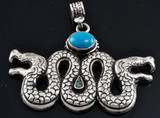 Snake Pendant- Sterling Silver and Turquoise