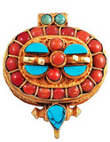 Sterling Silver, Gold, Coral, and Turquoise Prayer Box Ghau