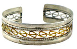Tibetan Buddhist Brass Twist and Silver Bracelet