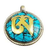 Tibetan Buddhist Om Pendant- Sterling Silver and Turquoise