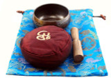 Singing Bowl Gift Set with Blue Silk Bag and Red Cushion
