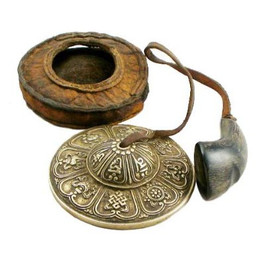 Tibetan Tingsha in a leather case
