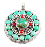 Tibetan Buddhist Turquoise and Coral Circle Pendant