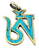 Tibetan Buddhist Turquoise and Gold Om Pendant