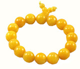 Tibetan Buddhist Yellow Jade Prayer Beads Wrist Mala Bracelet