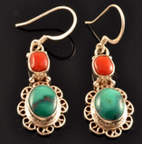 Tibetan Coral and Turquoise Sterling Silver Earrings