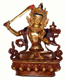 Manjushri Buddha Statue, Copper and Gold