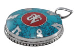 Tibetan Om Symbol Pendant with Turquoise and Coral Inlay
