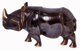 Rhinoceros Statue, Handmade in Nepal from Copper and Bronze
