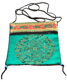 Tibetan Satin Prayer Beads Mala Bag or Passport Bag, Green