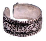 Tibetan Silver Lattice Flower Ring