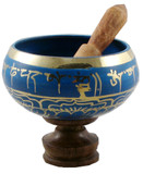 Tibetan Singing Bowl, Handmade in Nepal, Blue