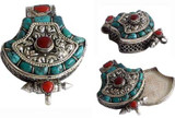 Tibetan Turquoise Coral Sterling Silver Prayer Box
