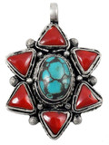 Turquoise and Coral Star Pendant