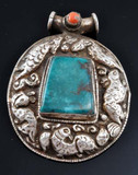 Turquoise and Coral Sterling Silver Animal Pendant