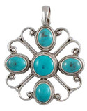 Turquoise and Sterling Silver Flower Pendant