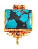 Turquoise Sterling Silver and Gold Square Ghau