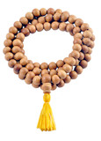 White Sandalwood Mala with a Yellow Tassel