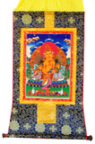 Yellow Dzambhala Tibetan Buddhist Brocade Thangka