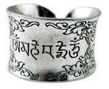 Om Mani Padme Hum White Metal Ring
