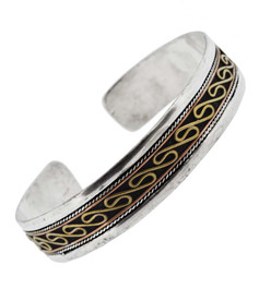 Silver and Brass Swirl Bracelet