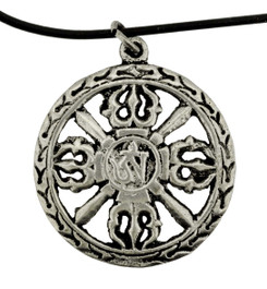 Silver Double Dorje Pendant with Om Symbol