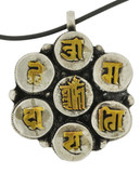 Brass and Silver Kalachakra Mantra Symbol and Om Mantra Pendant