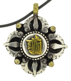 Kalachakra Mantra Symbol and Double Dorje Pendant