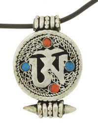 Tibetan Om Symbol Prayer Box, Silver