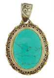 Turquoise Gemstone Pendant, Brass and Silver