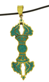 Vajra Dorje Pendant, Handmade from Turquoise and Brass