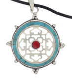 Turquoise and Coral Mandala Pendant