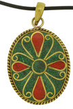 Flower Pendant with Malachite and Coral Inlay