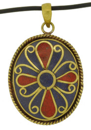 Brass Flower Pendant with Lapis Lazuli and Coral Inlay