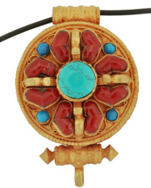 Gold Double Dorje Prayer Box Pendant with Turquoise and Coral Gemstones