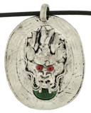 Malachite Dragon Pendant, Silver Alloy