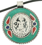 Ganesh Pendant with Turquoise Inlay