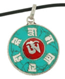 Tibetan Om Symbol Pendant with Om Mani Padme Hum Mantra, Turquoise and Coral