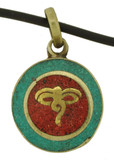 Buddha Eyes Pendant, Brass with Turquoise and Coral Inlay