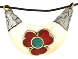 Flower Pendant, Handmade from Silver and Bone with Turquoise and Coral