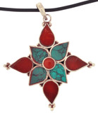 Turquoise and Coral Flower Pendant