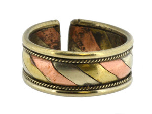 Three-Metal Healing Ring, Copper, Brass, and Silver