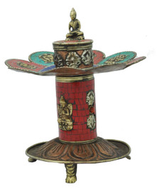 Copper and Brass Incense Burner, Turquoise and Coral