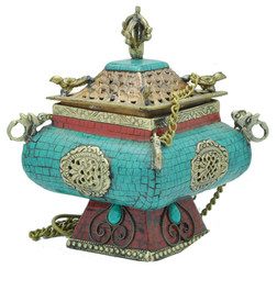 Hanging Incense Burner, Turquoise and Coral