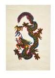 Lokta Paper Poster, Colorful Dragon