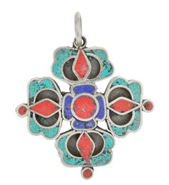 Vishvavaja Pendant, Double Dorje, with Turquoise, Lapis, and Coral