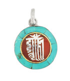 Kalachakra Mantra Symbol Pendant, Sterling Silver with Turquoise and Coral Inlay