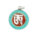 Om Symbol Pendant, Sterling Silver with Turquoise and Coral Inlay