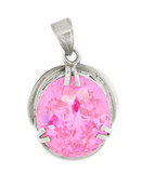 Pink Tourmaline and Sterling Silver Pendant