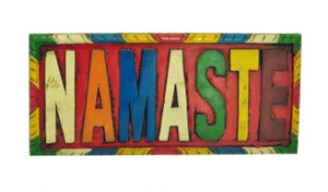 Namaste Wood Wall Hanging, Wood Carving